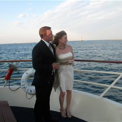 Bride and Groom on bow of Edelweiss I