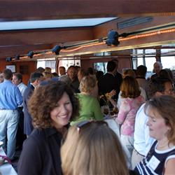 Mingling guests on Edelweiss II